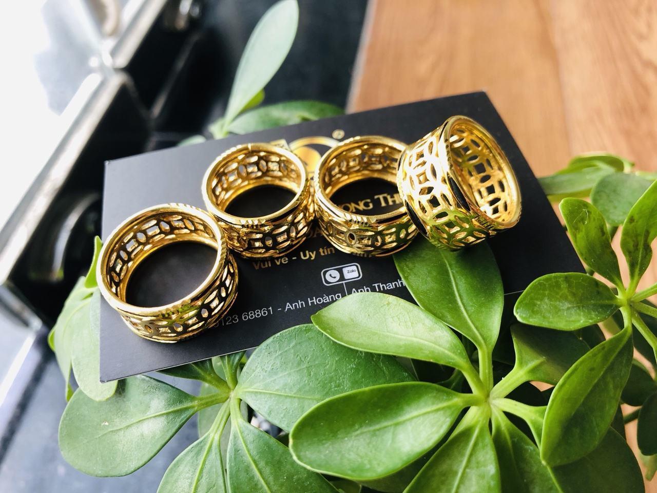 Nhẫn lông voi vàng 24k kim tiền Riogems may mắn