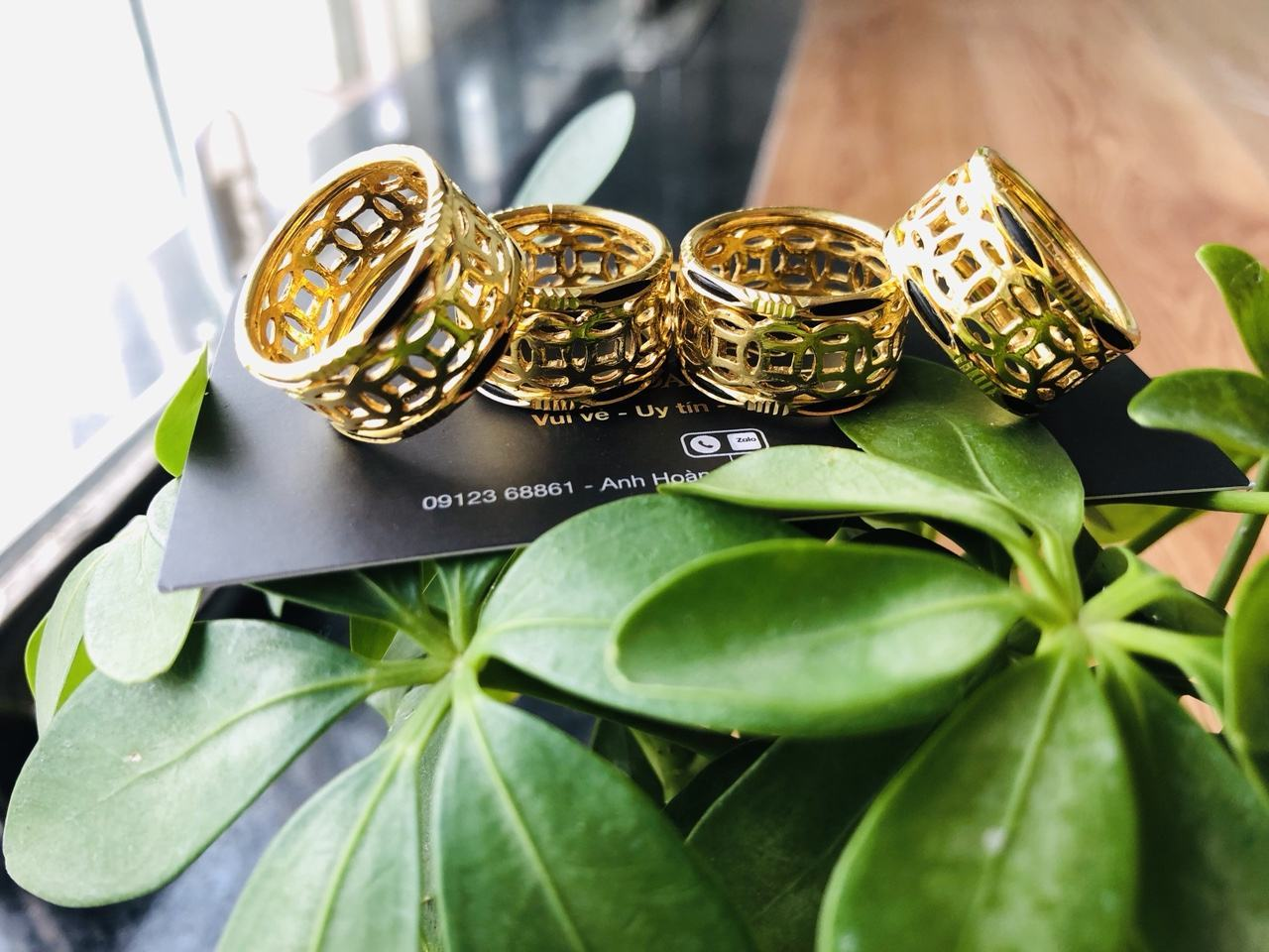 Nhẫn lông voi vàng 24k kim tiền Riogems phong thủy