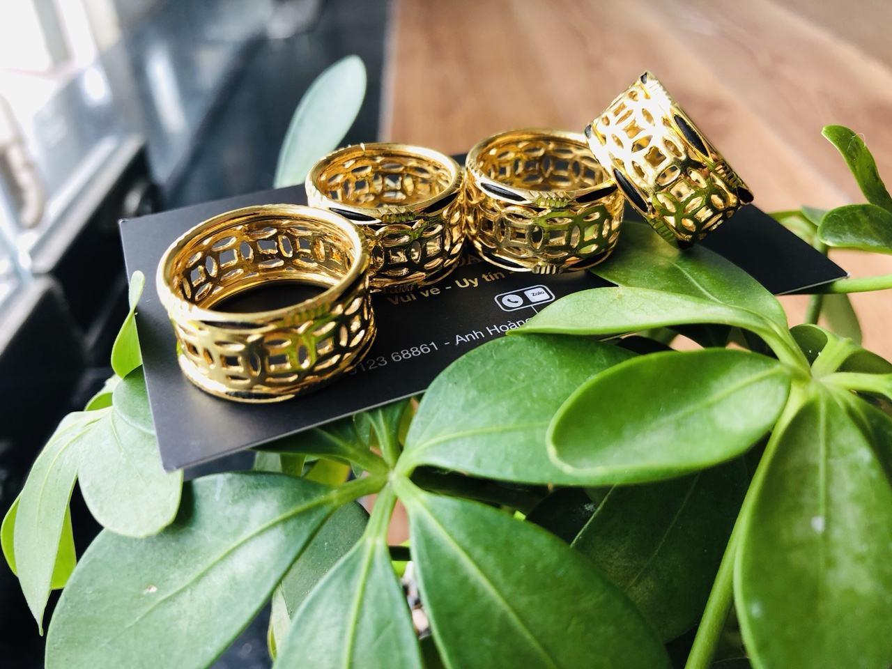 Nhẫn lông voi vàng 24k kim tiền Riogems tphcm