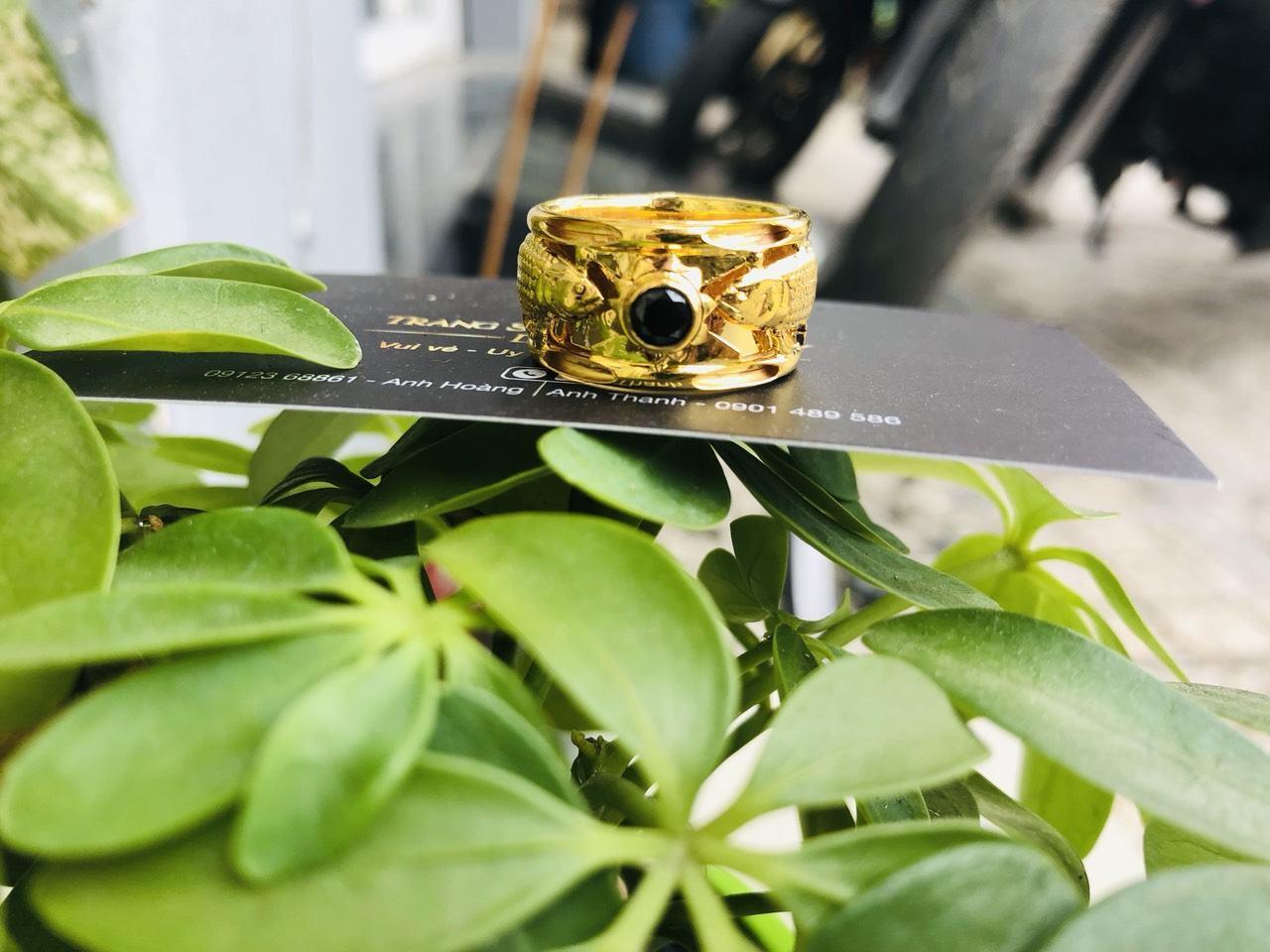 Nhẫn lông voi vàng nam đẹp cá chép vàng thật