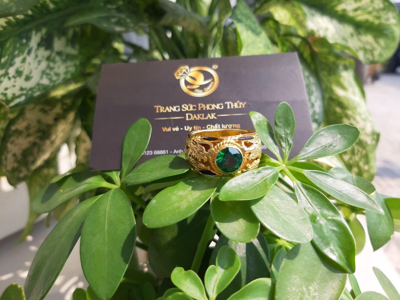 Nhẫn lông voi đính đá xanh lục song long tphcm