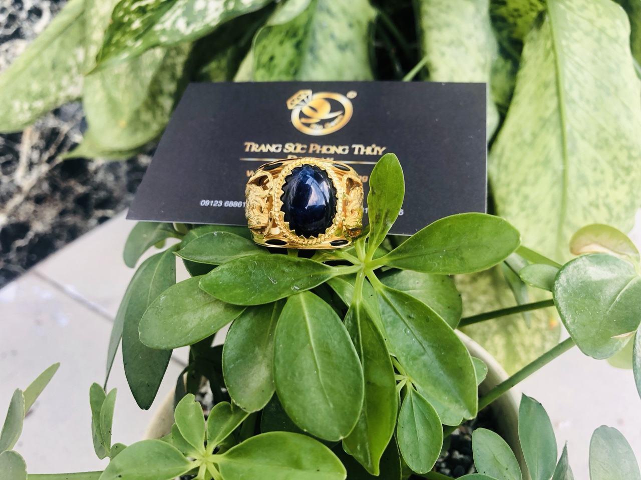 Nhẫn lông voi dành cho nam rồng hạt xanh tím đen chất