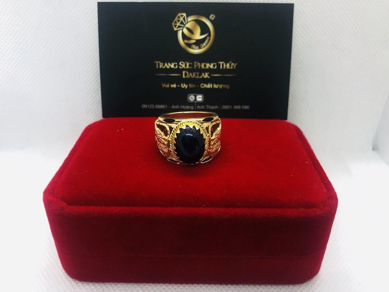 Nhẫn lông voi dành cho nam rồng hạt xanh tím đen mới