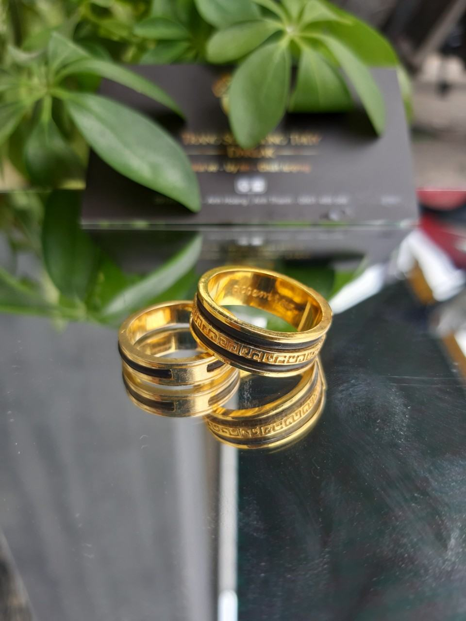 Nhẫn lông voi kép chạy hoa văn giữa giá rẻ