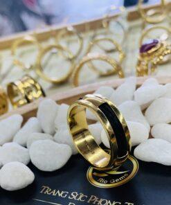 Nhẫn lông voi làm tay 2 sợi chung vàng phong thủy Riogems