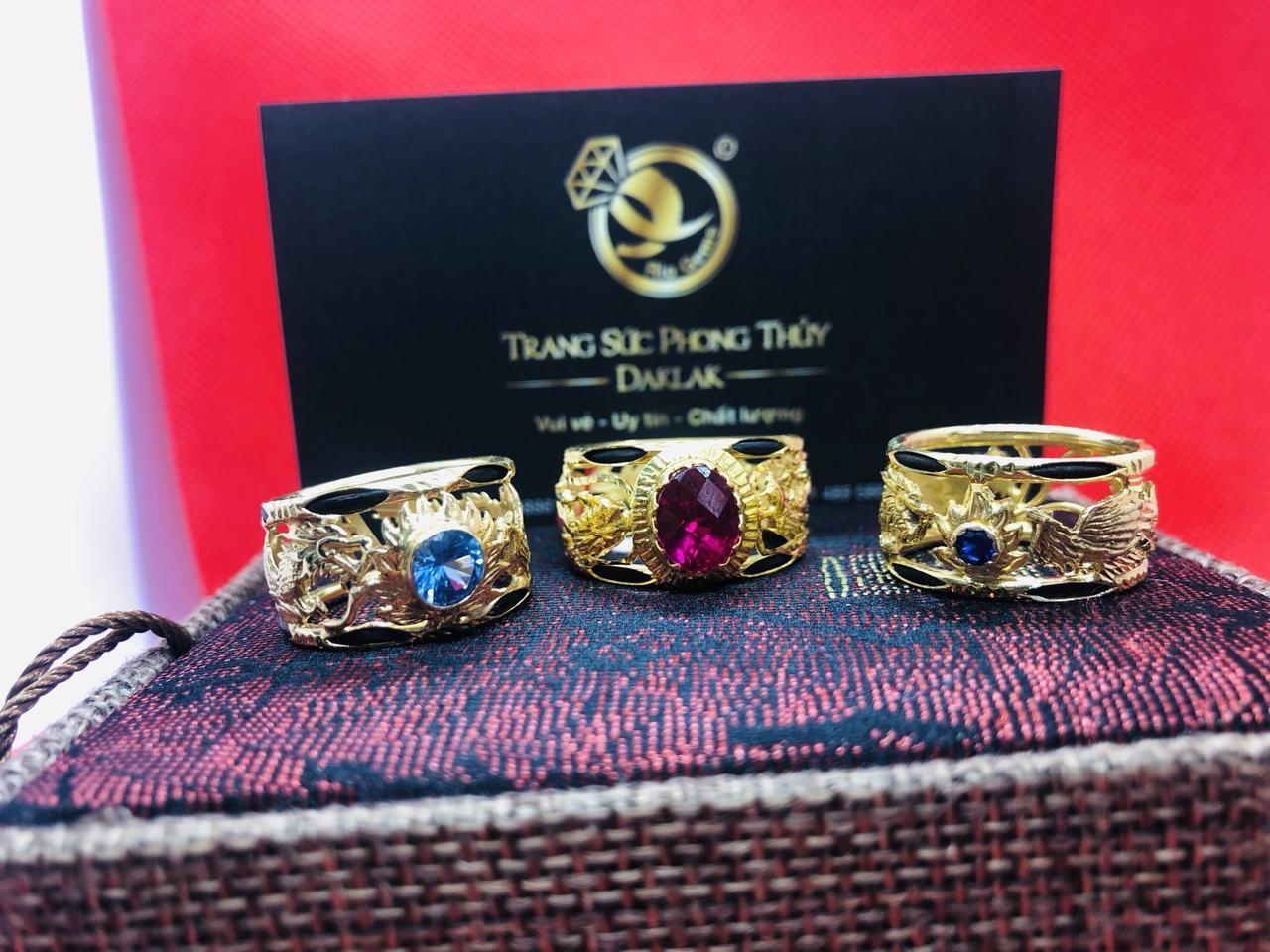 Nhẫn lông voi rồng phượng đính đá giá rẻ