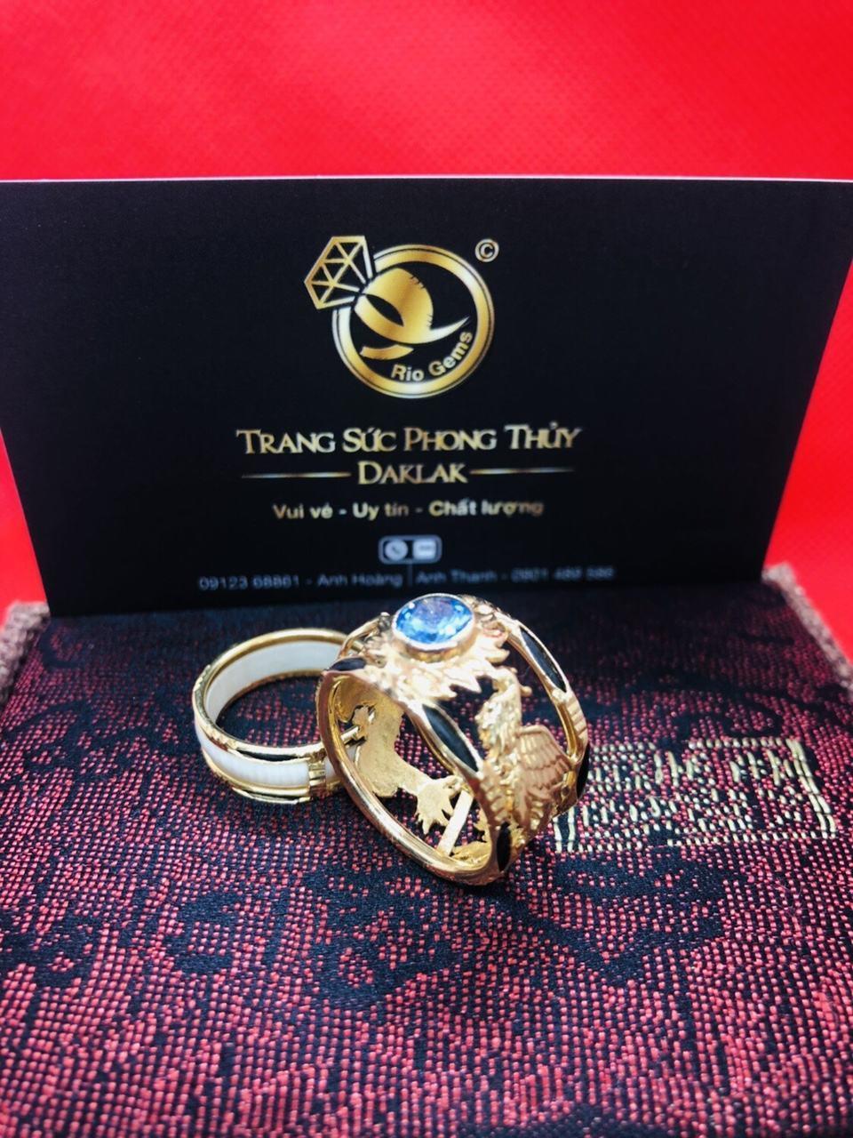 Nhẫn lông voi rồng phượng đính đá hcm