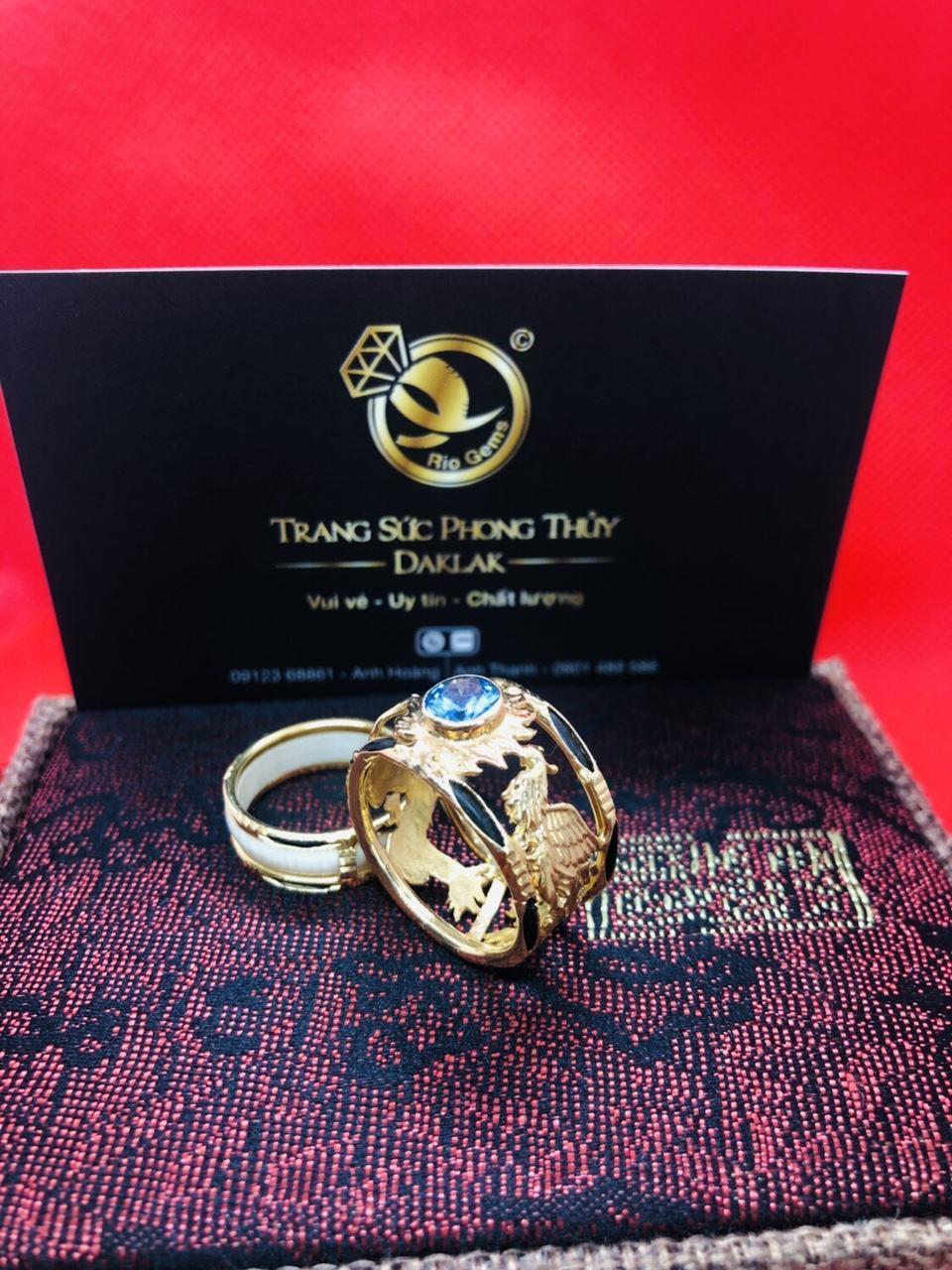 Nhẫn lông voi rồng phượng đính đá uy tín