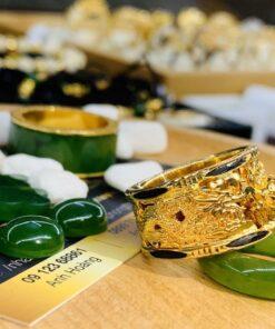 Nhẫn Rồng Rồng chầu ngọc vàng lửa phong thủy Riogems