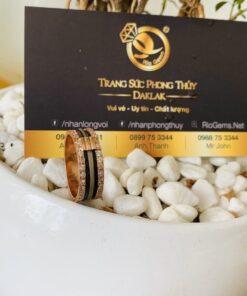 Nhẫn nam vàng hồng 3 lông voi trắng Thái Lan chạy 2 viền đá tấm Riogems