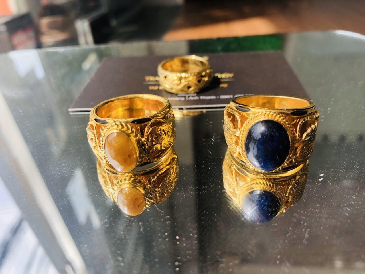 Nhẫn lông voi vàng giá rẻ 2 rồng cho nam