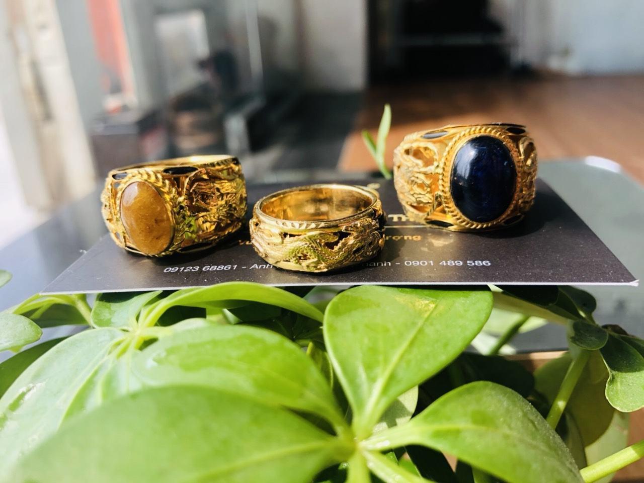 Nhẫn lông voi vàng giá rẻ 2 rồng giá rẻ