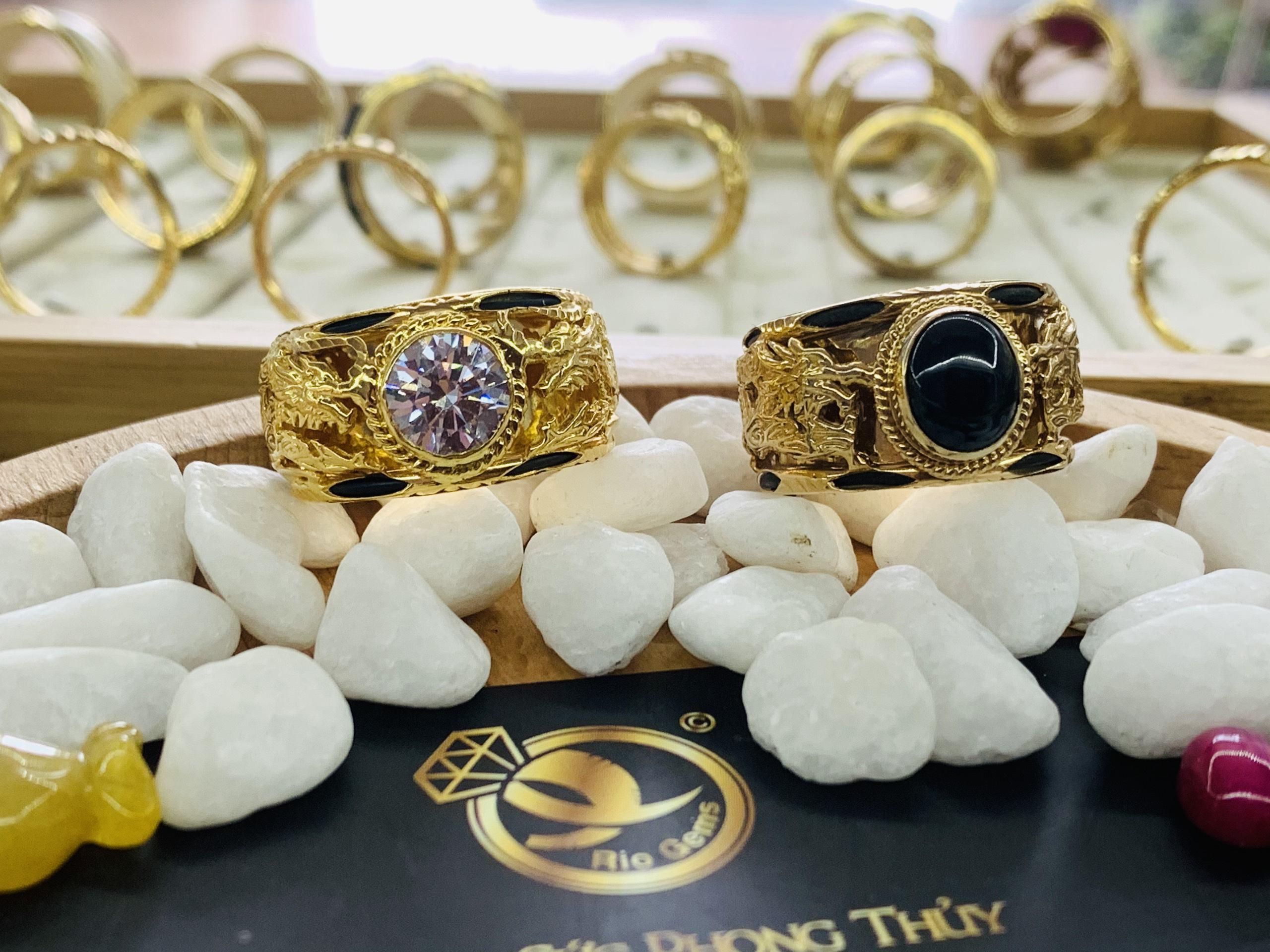 Nhẫn 2 Rồng vàng Cz trắng phong thủy mệnh Kim Thủy RIOGEMs