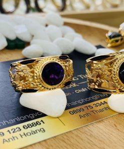 Cặp nhẫn vàng Rồng Phụng chầu ngọc phong thủy Riogems