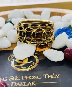 Nhẫn trầm hương bọc VÀNG