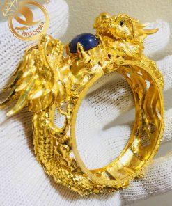 Vòng tay Rồng Rồng tranh ngọc Thạch Anh tóc vàng làm từ vàng