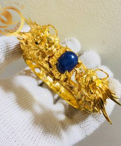 Vòng tay Rồng Rồng tranh ngọc Thạch Anh tóc vàng làm từ vàng 18k