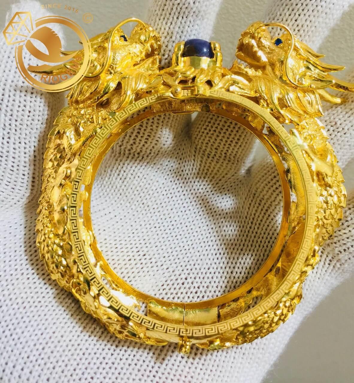 Vòng tay Rồng Rồng tranh ngọc Thạch Anh tóc vàng làm bằng vàng