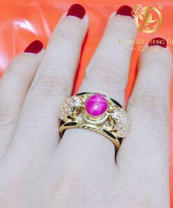 Nhẫn nữ đính ruby 2 cóc vàng