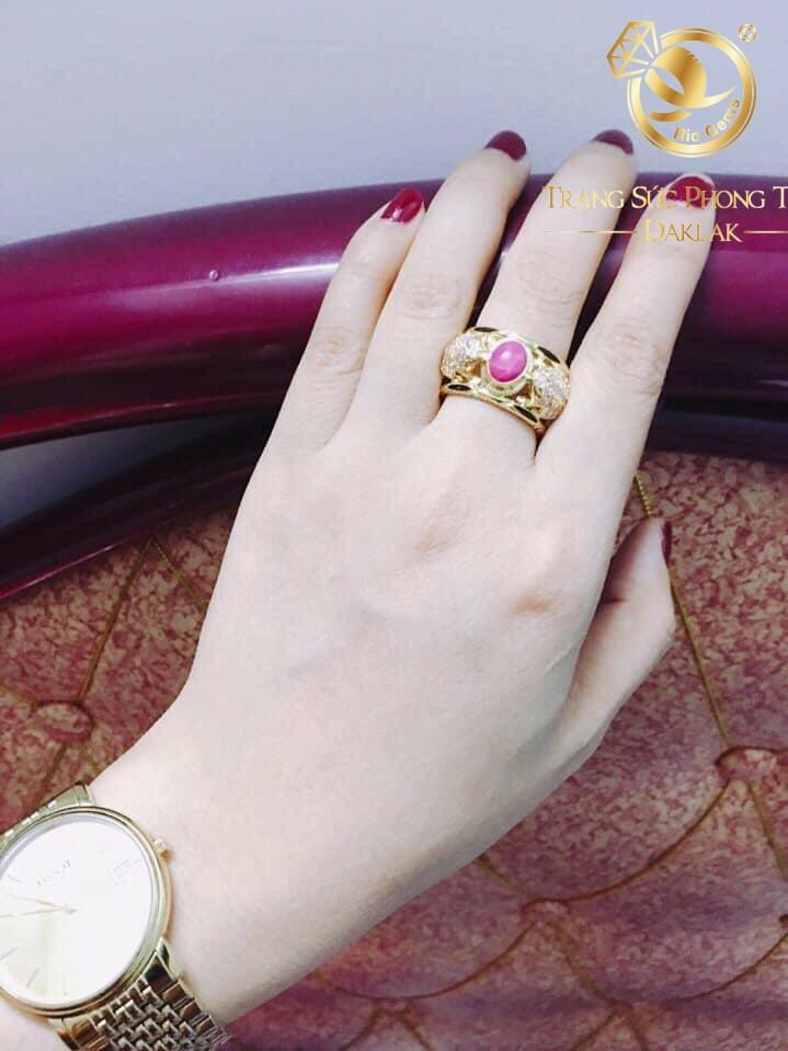 nhẫn phong thủy 2 cóc chầu ruby