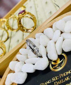 Nhẫn lông voi vàng trắng thời trang
