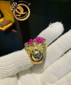 Nhẫn RỒng Ruby bọc vàng âm dương sang trọng