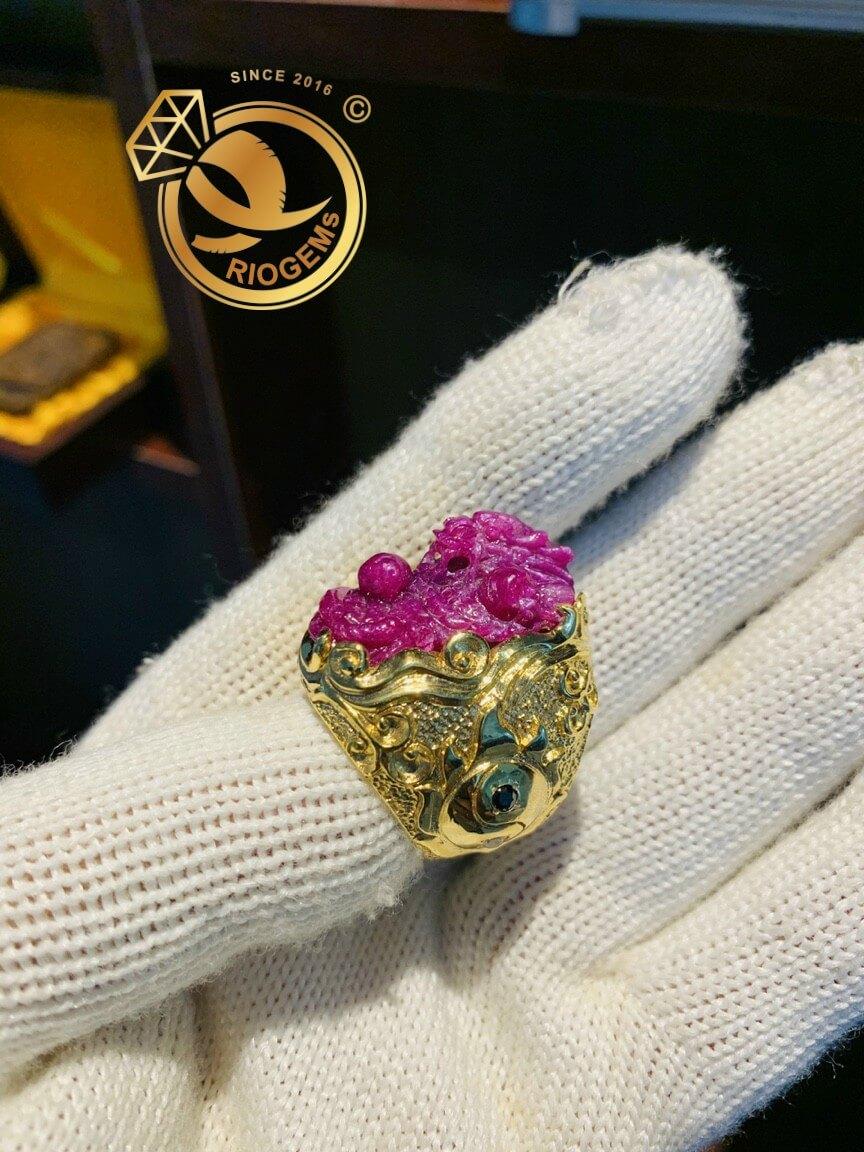Nhẫn RỒng Ruby bọc vàng âm dương quyền lực