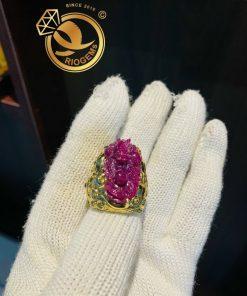Nhẫn RỒng Ruby bọc vàng âm dương mạnh mẽ