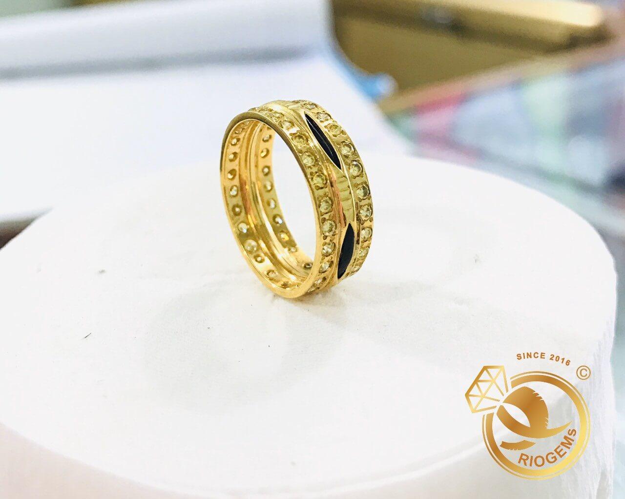 Nhẫn nữ vàng 18K 2 vành vàng đính đá Cz (lông FAKE) đẹp