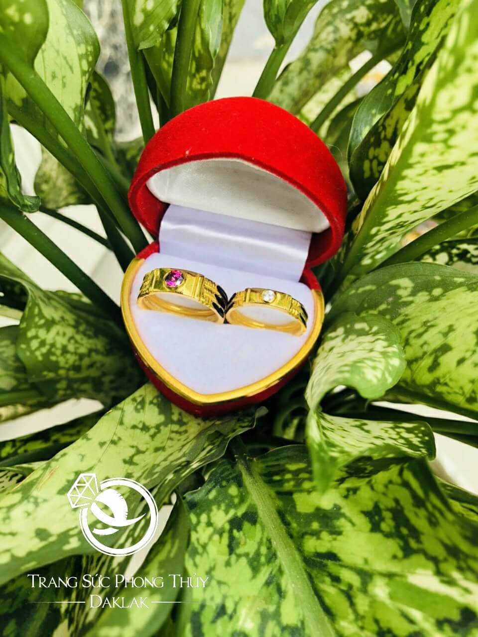 Cặp nhẫn đính đá Cz vàng