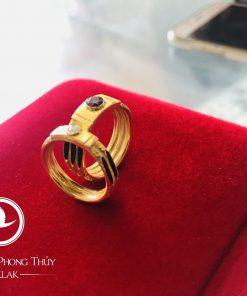 Cặp nhẫn đính đá Cz vàng phong thủy