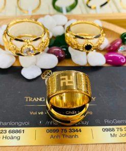 Cặp nhẫn Bát Nhã Tâm Kinh vàng 75 Riogems