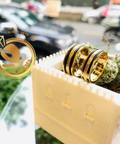 Cặp nhẫn hoa văn VÀNG 18K chạy 2 viền lông thích hợp làm quà tặng