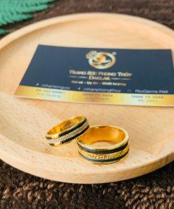 Cặp nhẫn hoa văn VÀNG 18K chạy 2 viền lông có giấy chứng nhận hàng thật