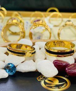 Cặp nhẫn lông voi 1 sợi khắc Rồng Ngựa vàng chất lượng