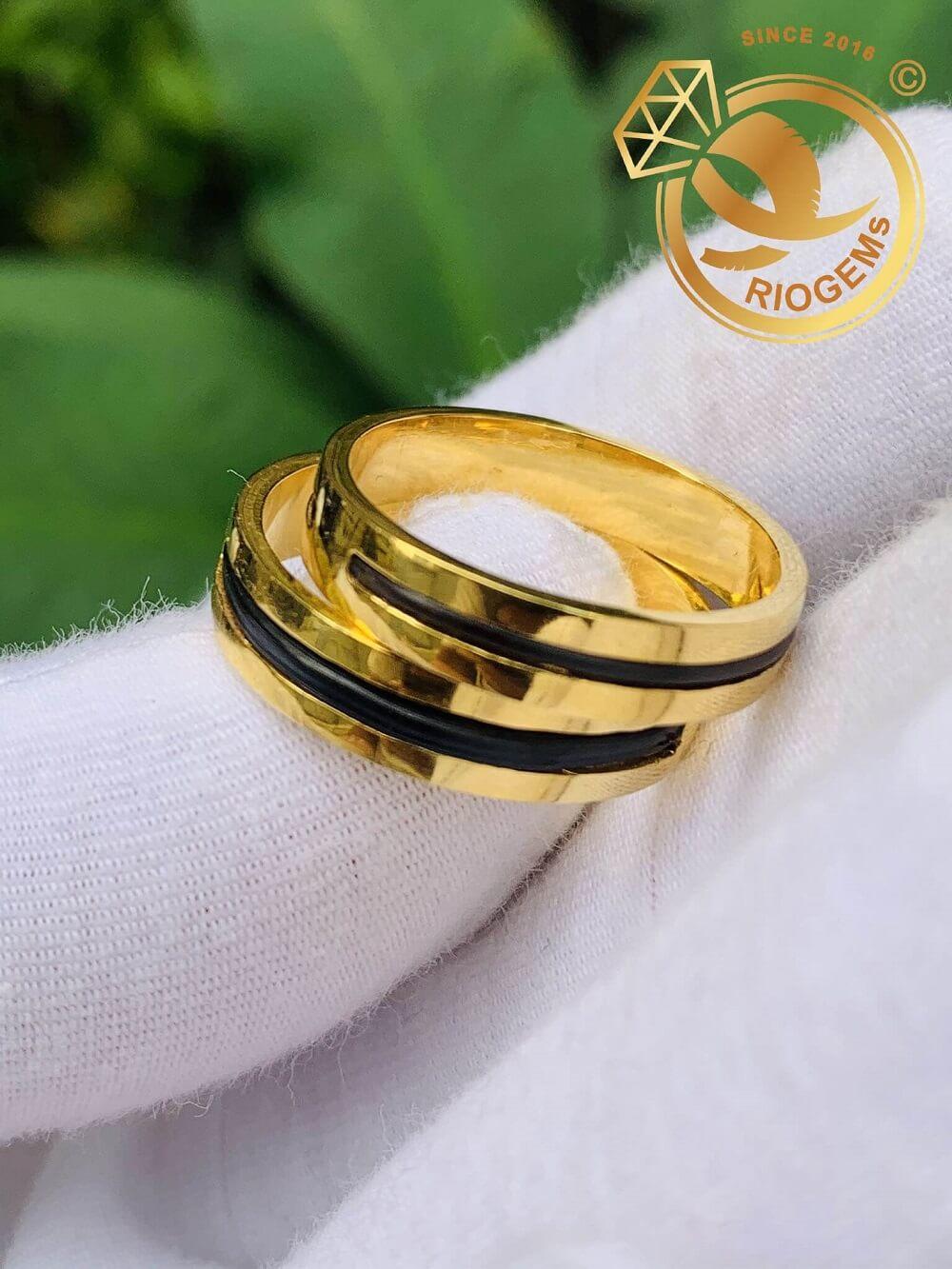 Cặp nhẫn lông voi 1 sợi làm tay vàng 18K đơn giản