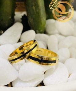 Cặp nhẫn vàng vuông đơn giản làm tay luồng 1 lông tài lộc