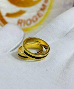 Cặp nhẫn vàng vuông đơn giản làm tay luồng 1 lông thích hợp làm quà tặng