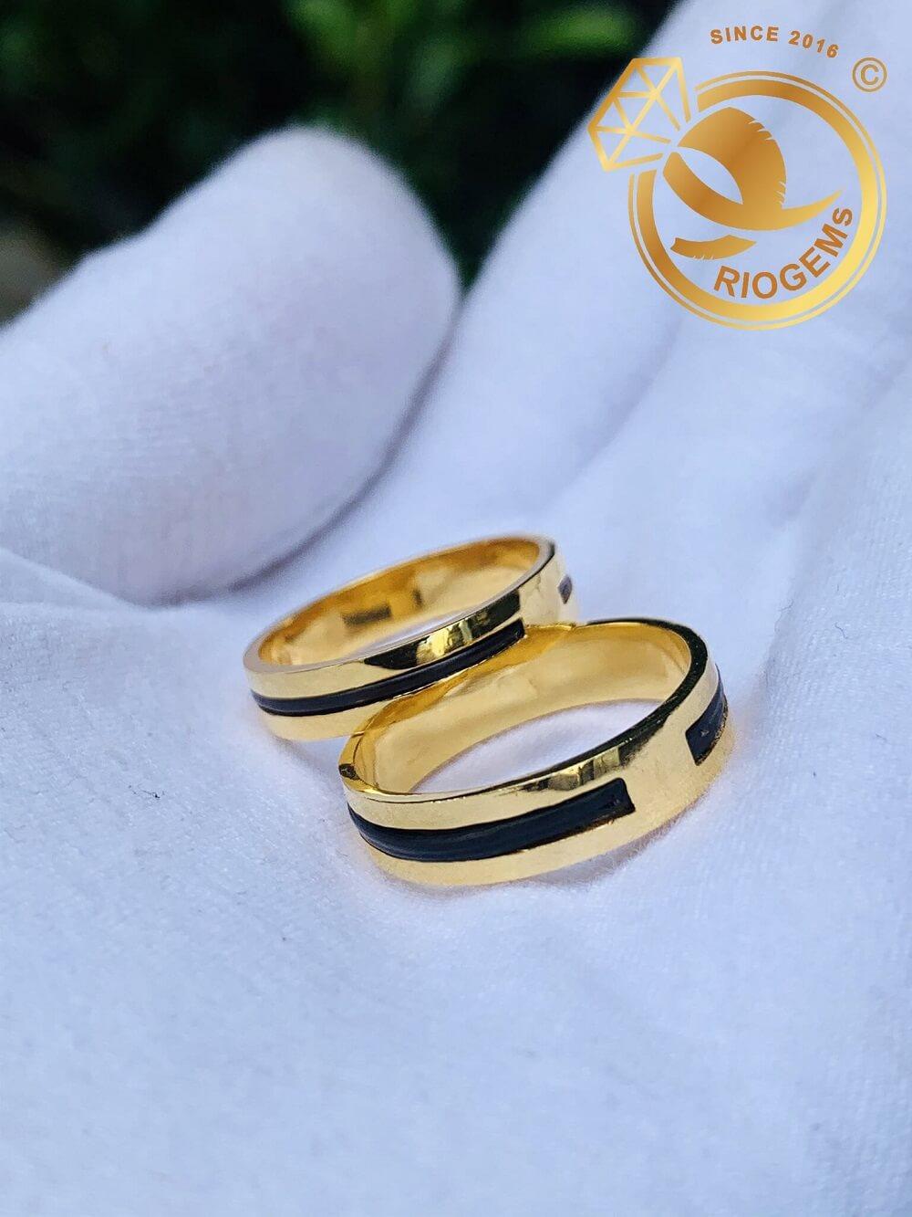Cặp nhẫn lông voi 1 sợi làm tay vàng 18K tinh xảo