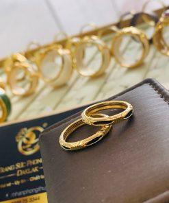 cặp nhẫn lông voi 1 sợi ống vàng 2 li được thiết kế tinh tế