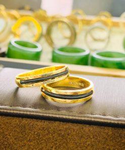 Cặp nhẫn lông voi làm tay 1 sợi làm từ chất liệu vàng