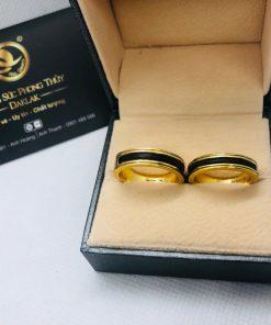 cặp nhẫn lông voi làm tay khắc 2 khía vàng giá tốt