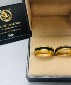 cặp nhẫn lông voi làm tay khắc 2 khía vàng phong thủy