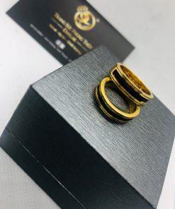 cặp nhẫn lông voi làm tay khắc 2 khía vàng phong thủy Riogems