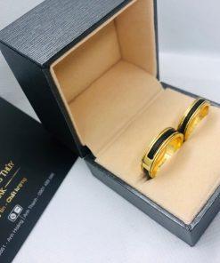 cặp nhẫn lông voi làm tay khắc 2 khía vàng giá bao nhiêu