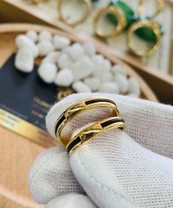 giá thành cặp nhẫn lông voi ngoài 1 sợi làm tay vàng 18K phải chăng