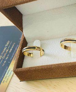 cặp nhẫn lông voi ngoài 1 sợi làm tay vàng 18K gia công đẹp