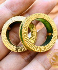 Cặp nhẫn Ngọc Bích 2 viền vàng Hoa Văn hợp mệnh hỏa mộc