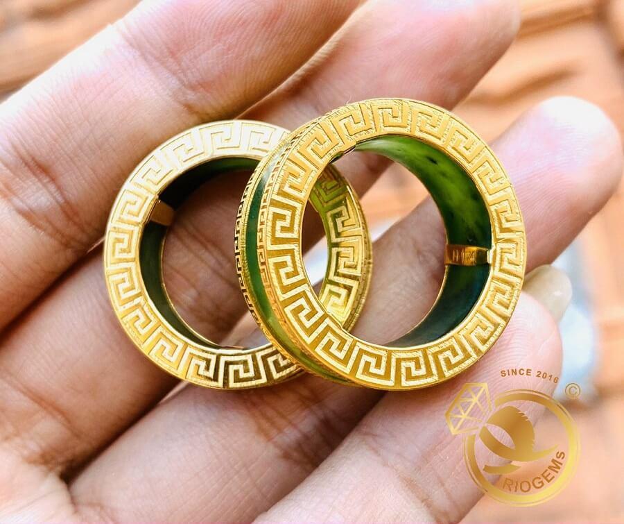 Cặp nhẫn Ngọc Bích 2 viền VÀNG 18K Hoa Văn sang