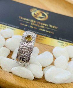 NHẪN chữ Vạn NỔI vàng trắng 18K đính Citrine hợp mệnh nhiều người